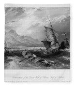 China: Gulf Of Bohai, 1843 Fleece Blanket