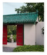 Chinese Scholar's Garden Fleece Blanket