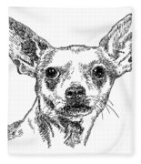 Chiwawa-portrait-drawing Fleece Blanket