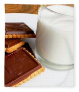 Chocolate Coated Butter Cookies And Milk Fleece Blanket