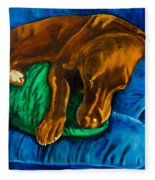 Chocolate Lab On Couch Fleece Blanket
