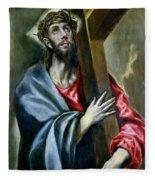 Christ Clasping The Cross Fleece Blanket