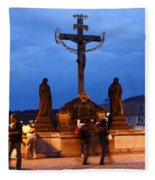 Christ Crucifixion Sculpture Fleece Blanket