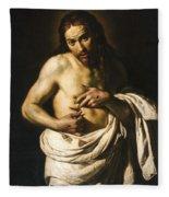 Christ Displaying His Wounds Fleece Blanket