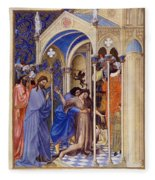Christ Exorcising A Demon From A Possessed Youth: Illumination From The 15th Century Ms. Of The Tres Riches Heures Of Jean, Duke Of Berry Fleece Blanket