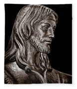 Christ In Bronze - Bw Fleece Blanket