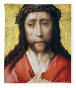 Christ In Crown Of Thorns Fleece Blanket