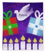 Christmas And Hanukkah Peace Fleece Blanket