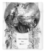 Christmas Card, 1879 Fleece Blanket