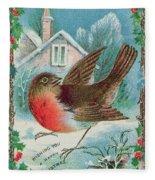 Christmas Card Depicting A Robin  Fleece Blanket