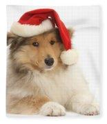 Christmas Collie Pup Fleece Blanket
