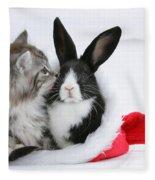 Christmas Kitten And Rabbit Fleece Blanket