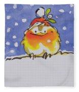 Christmas Robin Fleece Blanket