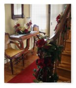 Christmas Rose And Stairs  Fleece Blanket