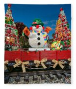 Christmas Snowman On Rails Fleece Blanket