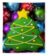 Christmas Tree Cookie With Ornaments Fleece Blanket