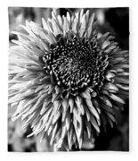 Chrysanthemum In Monochrome Fleece Blanket
