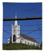 Church And Barbed Wire Fleece Blanket