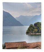 church at the Lake Como Fleece Blanket