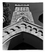 Church Facade In Black And White Fleece Blanket