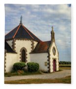 Church Off The Brittany Coast Fleece Blanket