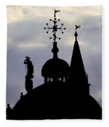 Church Spires Silhouettes Fleece Blanket