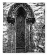 Church Window And Vines Bw Fleece Blanket