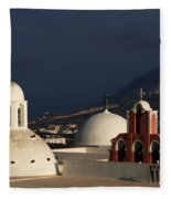 Churches In Fira Greece Fleece Blanket