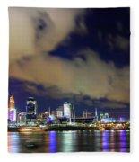 Cincinnati Skyscrapers Touch Clouds Fleece Blanket