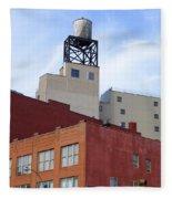 City Buildings On Bowery Fleece Blanket