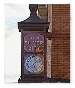 City Clock In Silver City Nm Fleece Blanket