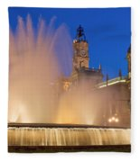 City Hall And Fountain At Dusk Fleece Blanket