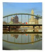 City Reflections Through A Bridge Fleece Blanket