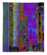 City Windows Abstract Pop Art Colors Fleece Blanket
