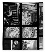 Classic Car Collage In Black And White Fleece Blanket