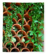 Clay Pattern Wall With Vines Fleece Blanket