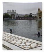 Clearing The Sarovar Inside The Golden Temple Resorvoir Fleece Blanket