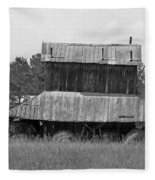 Clewis Family Tobacco Barn II In Black And White Fleece Blanket
