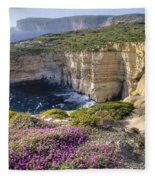Cliffs Along Ocean With Wildflowers Fleece Blanket
