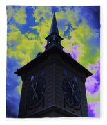 Clock Tower Night Fleece Blanket