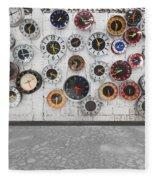 Clocks On The Wall Fleece Blanket