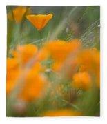 Close Up Of Orange Poppy Flowers Fleece Blanket