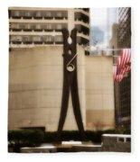 Clothes Pin Statue In Philadelphia Fleece Blanket