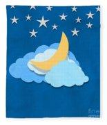 Cloud Moon And Stars Design Fleece Blanket