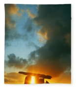 Clouds Over A Tomb, Poulnabrone Dolmen Fleece Blanket