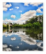 Clouds Reflection On Water Fleece Blanket