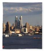 Clouds Rolling In On New York City Fleece Blanket