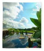 Cloudy Reflections And Lily Pad Companions  Fleece Blanket