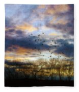 Cloudy Sunset With Bare Trees And Birds Flying Fleece Blanket