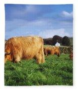 Co Antrim, Ireland Highland Cattle Fleece Blanket